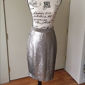 Banana Republic NWT Silver Sequin Pencil Skirt 4P